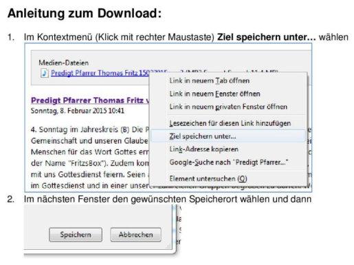 Anleitung zum mp3-Download, Kontextmenü, Speichern unter, Speoicherort wählen, speichern, Fertig; Quelle:  JW